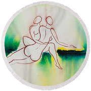 Divine Love Series No. 2090 Round Beach Towel