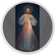 Divine Mercy Round Beach Towel