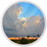 Divinely Inspired Sunset Round Beach Towel
