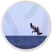 Diving For Dinner Round Beach Towel by Annette Allman