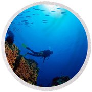 Diving Scene Round Beach Towel