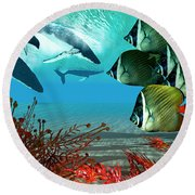 Diving Whales Round Beach Towel