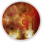 Diwali Card Lamps And Murals Blue City India Rajasthan 2h Round Beach Towel