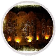 Diwali Lamps And Murals Blue City India Rajasthan 2b Round Beach Towel