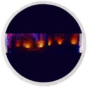 Diwali Lamps And Murals Blue City India Rajasthan Wide 2d Round Beach Towel
