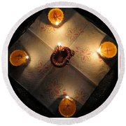 Diwali Lamps Round Beach Towel