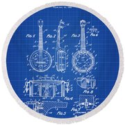 Dixie Banjolele Patent 1954 In Blue Print Round Beach Towel