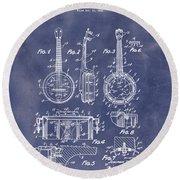 Dixie Banjolele Patent 1954 In Grunge Blue Round Beach Towel