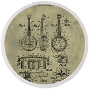 Dixie Banjolele Patent 1954 In Weathered Round Beach Towel