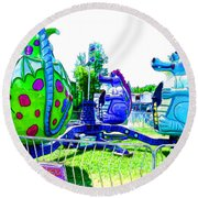 Dizzy Dragon Ride 2   Round Beach Towel