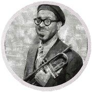 Dizzy Gillespie Vintage Jazz Musician Round Beach Towel