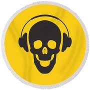 Dj Skeleton Round Beach Towel