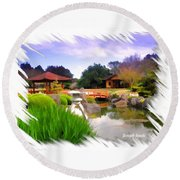 Do-00007 Japanese Gardens Round Beach Towel