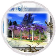 Do-00013 Wisteria Branches Round Beach Towel