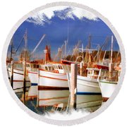 Do-00096 Boats In Nelson Bay Early 90s Round Beach Towel