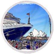 Do-00100 A Ship And Opera House Round Beach Towel