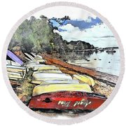 Do-00124 Tender Boats Round Beach Towel