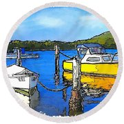 Do-00147 Resting Boats Round Beach Towel