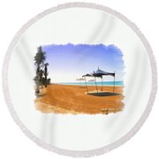 Do-00155 Beach At Royal Mirage Hotel Round Beach Towel