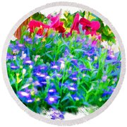 Do-00221 Flowers Round Beach Towel