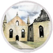 Do-00244 Abandoned Church Round Beach Towel