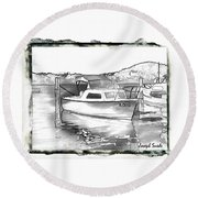 Do-00250 A Boat Round Beach Towel