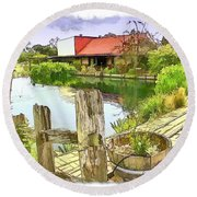 Do-00251 A Farm In Hunter Valley Round Beach Towel