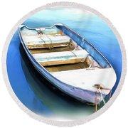 Do-00269 Boat In Killcare Round Beach Towel