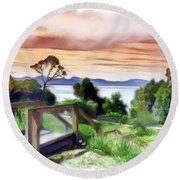 Do-00272 Look Out From Sarah Island Round Beach Towel