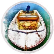 Do-00277 Boat In Hardys Bay Round Beach Towel