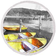 Do-00279 Yellow Boats Round Beach Towel