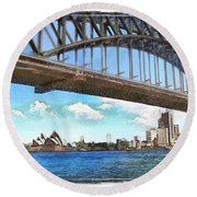 Do-00284 Sydney Harbour Bridge And Opera House Round Beach Towel