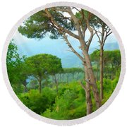 Do-00301 Pine Trees Forest In Aaraya Round Beach Towel
