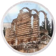 Do-00302 Ruins In Anjar Round Beach Towel