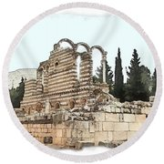 Do-00306 Old Ruins In Anjar Round Beach Towel