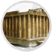 Do-00311 The Temple Of Bacchus Baalbeck Round Beach Towel