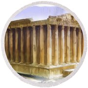 Do-00312 Temple Of Bacchus In Baalbeck Round Beach Towel