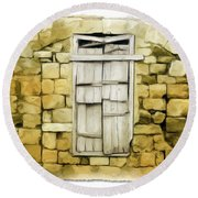 Do-00322 An Old Door And Wall Round Beach Towel