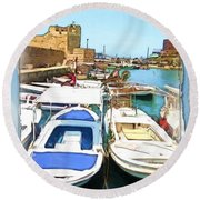 Do-00347 Boats In Byblos Port Round Beach Towel