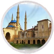 Do-00362al Amin Mosque And St George Maronite Cathedral Round Beach Towel