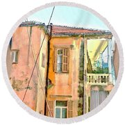 Do-00386 Old Building In Mar Mikhael Round Beach Towel