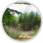 Do-00451 Cedar Trees Forest Round Beach Towel