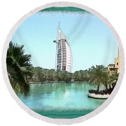 Do-00464 View Of Burj Al-arab Round Beach Towel