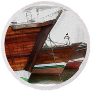 Do-00476 Abra Dhow Boats Round Beach Towel
