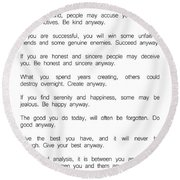 Do It Anyway By Mother Teresa 2 #minimalism #inspirational Round Beach Towel