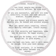 Do It Anyway By Mother Teresa #minimalism #inspirational Round Beach Towel