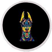 Doberman Dog Breed Head Breed Pet True Friend Color Designed Round Beach Towel