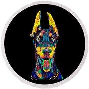 Doberman Dog Breed Head Pet Breed True Friend Color Designed Round Beach Towel