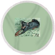 Dobermann Round Beach Towel