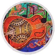 Dobro - Slide Guitar Round Beach Towel